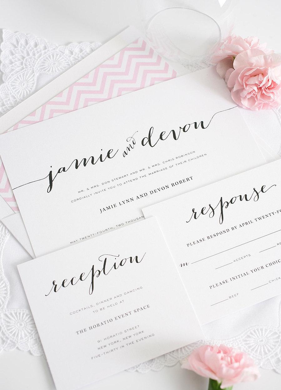 Wedding Invitation - Pink, Chevron, Romantic, Rustic, Shabby Chic ...