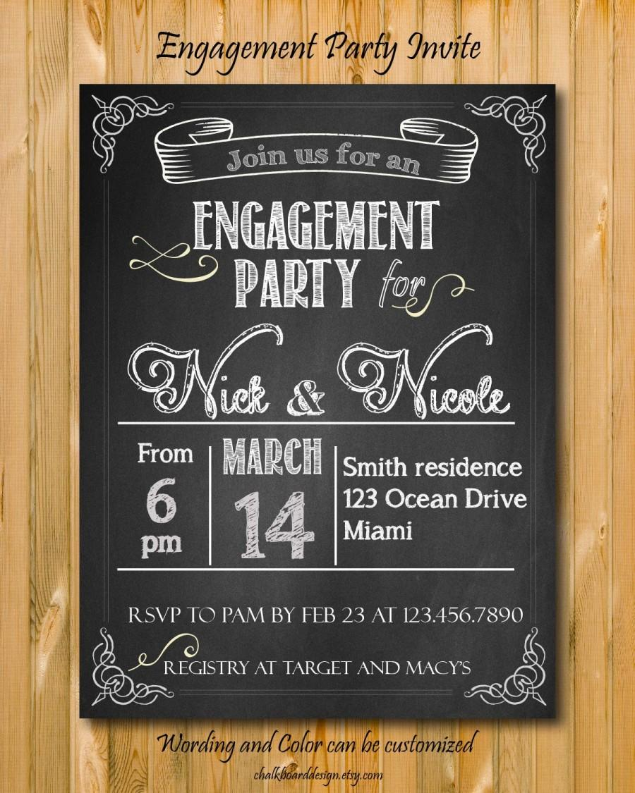 engagement party invitation printable custom chalkboard invite