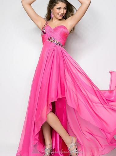 Свадьба - A-line One Shoulder Natural Asymmetry Sleeveless Beading Ruched Backless Chiffon Hot Pink Prom / Homecoming / Evening Dresses By Blush 9629