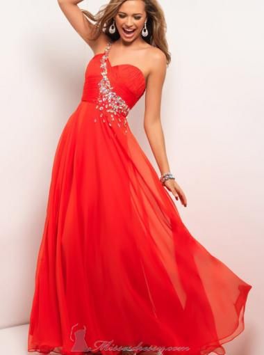 Wedding - A-line One Shoulder Natural Court Sleeveless Ruched Crystal Zipper Up Chiffon Red Prom / Homecoming / Evening Dresses By Blush 9617
