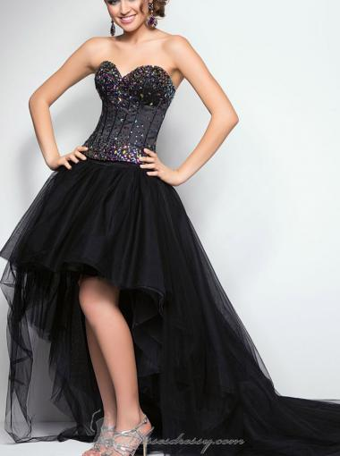 Wedding - A-line Sweetheart Natural High-low Sleeveless Beading Lace Up Tulle Taffeta Black Prom / Homecoming / Evening Dresses By Blush 9613