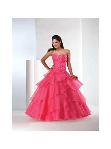 Wedding - Ball Gown Sweetheart Natural Floor Length Sleeveless Beading Cascading Lace Up Organza Hot Pink Quinceanera / Prom / Homecoming / Evening Dresses By Bony 5201