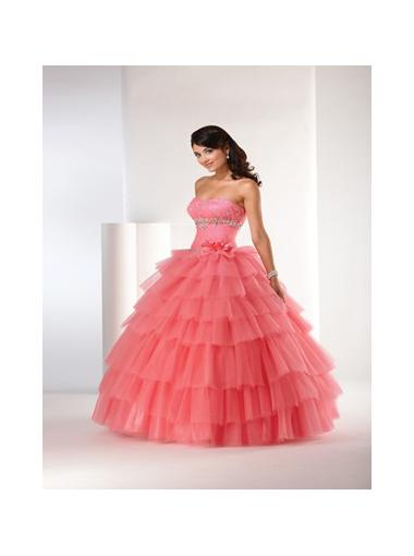Wedding - Ball Gown Strapless Natural Floor Length Sleeveless Beading Tiers Lace Up Tulle Coral Quinceanera / Prom / Homecoming / Evening Dresses By Bony 5204