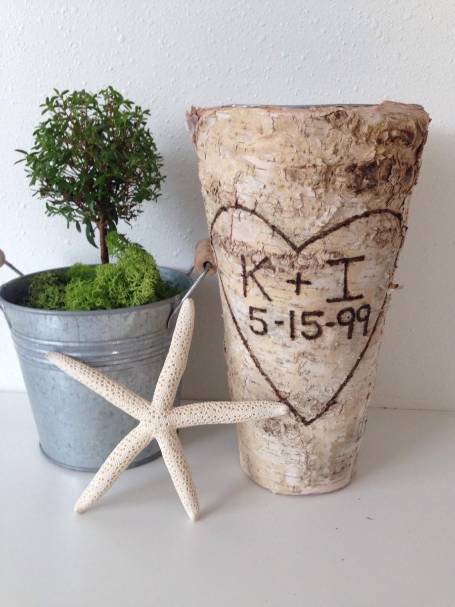Свадьба - Anniversary Gift Personalized Birch Bark Vase