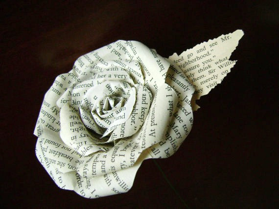 Mariage - Jane Austen Sense and Sensibility book paper flower rose made from a recycled novel