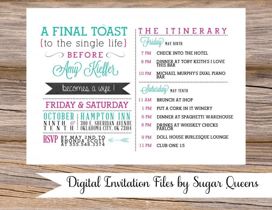 Bachelorette Party Weekend Wedding Invitation DIY Printable Fun Unique Naughty Girls Night Out Hens Itinerary Plans Details A Final Toast