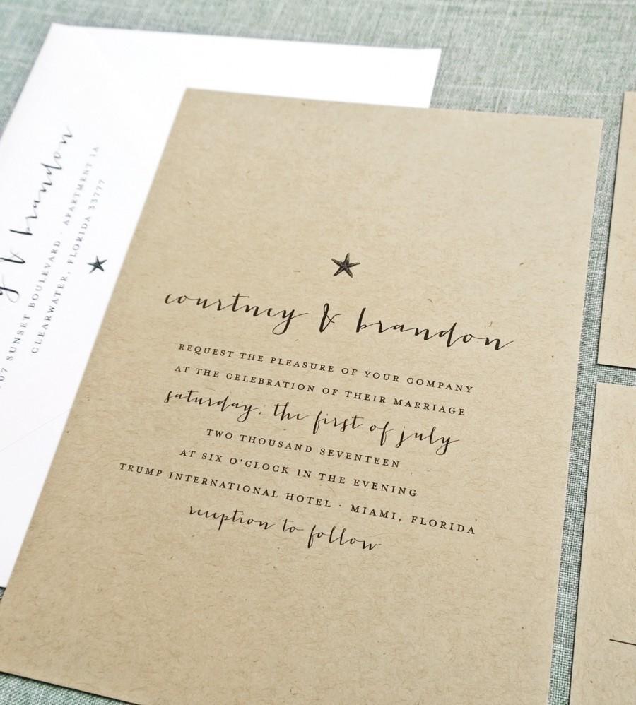 Courtney Kraft Beach Wedding Invitation Sample - Rustic Recycled ...