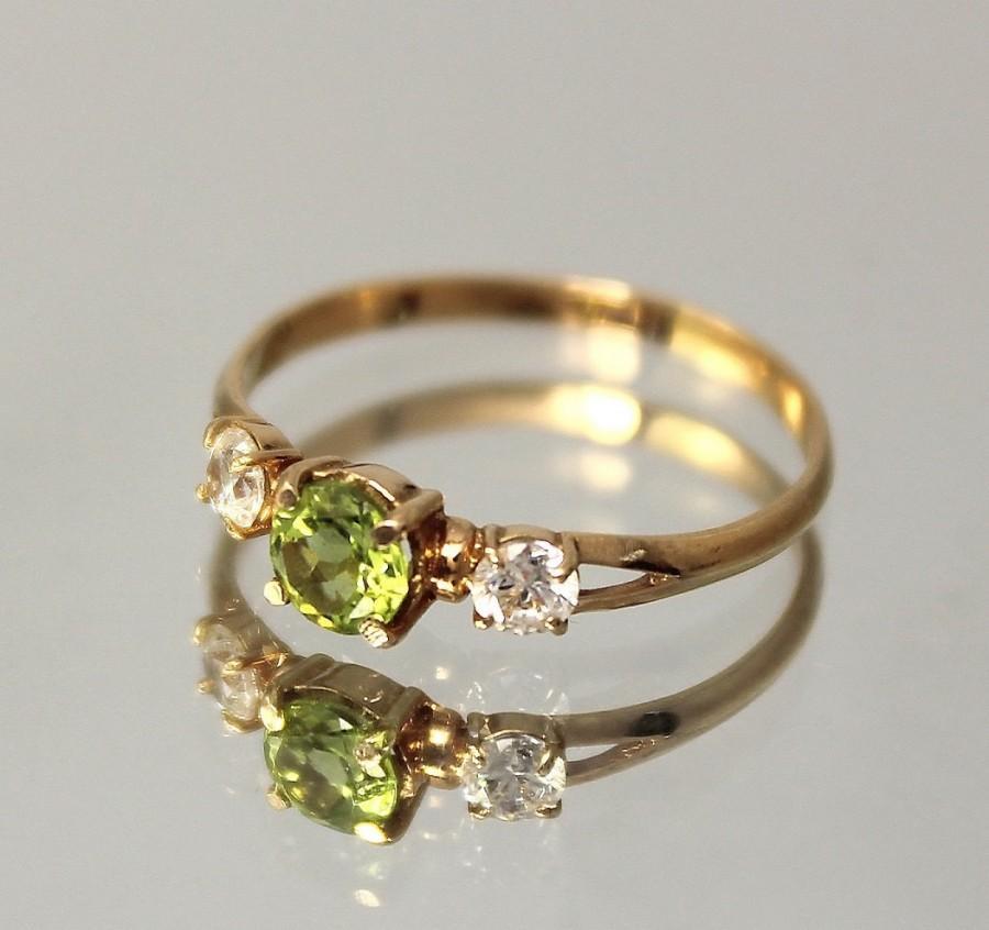 زفاف - Peridot ring, Green stone ring, Peridot ring gold, Gemstone ring, Three stone ring, Birthstone ring, August birthstone