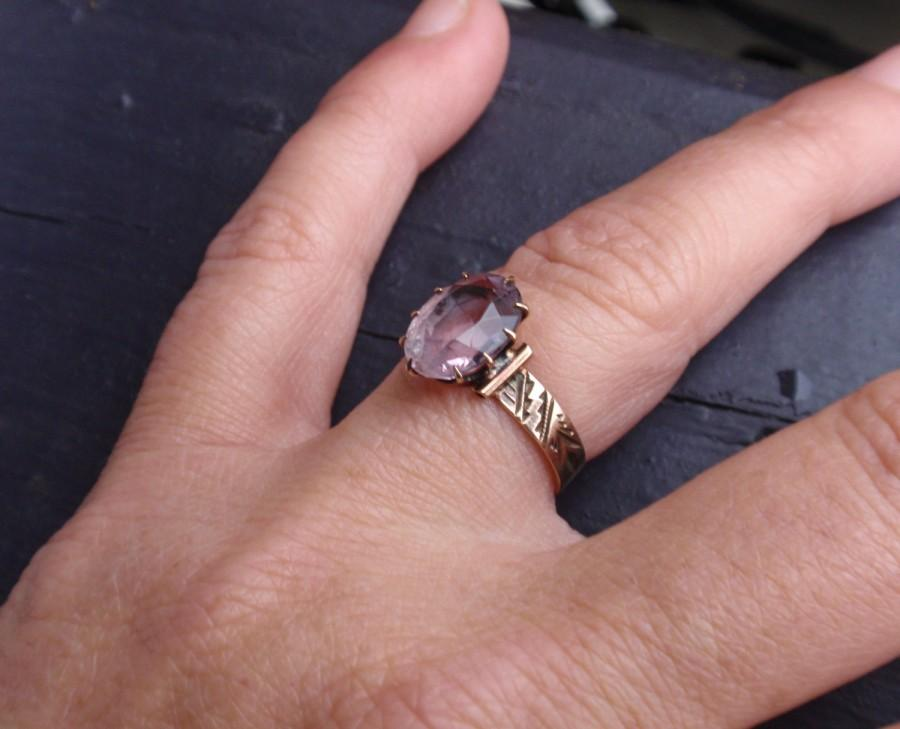 Victorian Amethyst 10k Ring Rose Gold Antique Oval Cigar Band 10