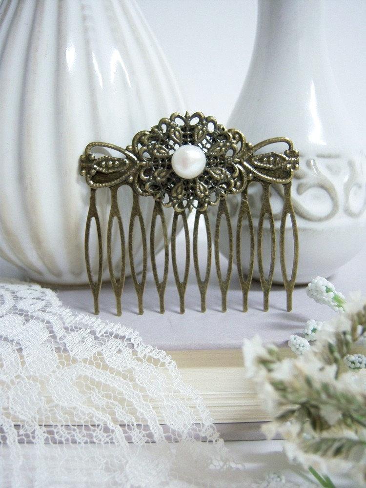 Wedding - Fresh Water Pearl Vintage Hair Comb/Vintage Hair Comb/ Hair Comb With Pearl/Large Vintage Hair Comb/Bridal Pearl Hair Comb/