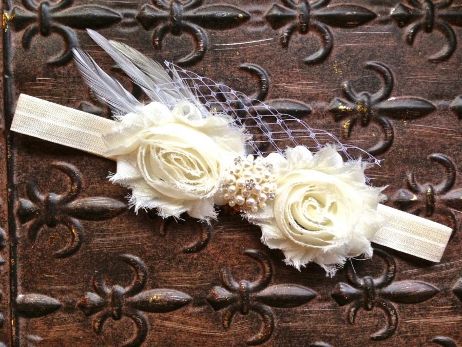 Свадьба - Pearl Ivory Flower Girl Headband, Ivory Flower Girl Hair Accessory, Ivory Flower Girl Head Piece, Flower Girl Halo, Ivory Photo Prop