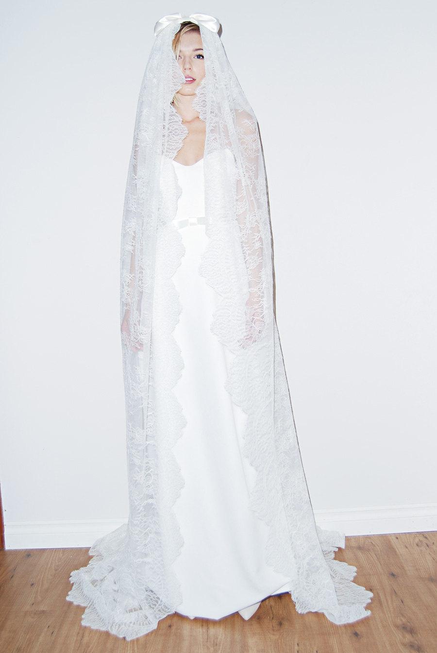 Свадьба - Lace Wedding Veil, Long Lace Veil, Boho Veil, Bow Lace Veil, Bridal Veil, Wedding Veil, Satin Bow Lace Veil