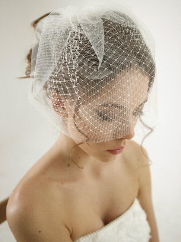 Свадьба - Double layer birdcage wedding veil, russian netting wedding veil, mini veil, simple birdcage veil, Olivia - Style V14