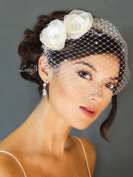 Свадьба - Leslie Li Leah Style Crystal Bridal Birdcage Veil with 2 Sheer Flowers 27-F19