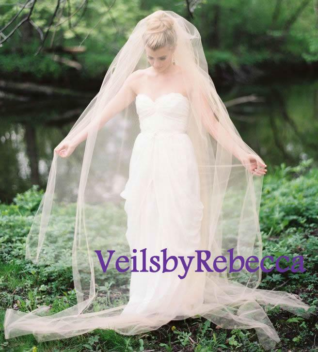 Свадьба - Simple blush veil, plain blush tulle chapel veil with blusher,2 tiers blush tulle veil,blush cathedral veil, blush wedding veils