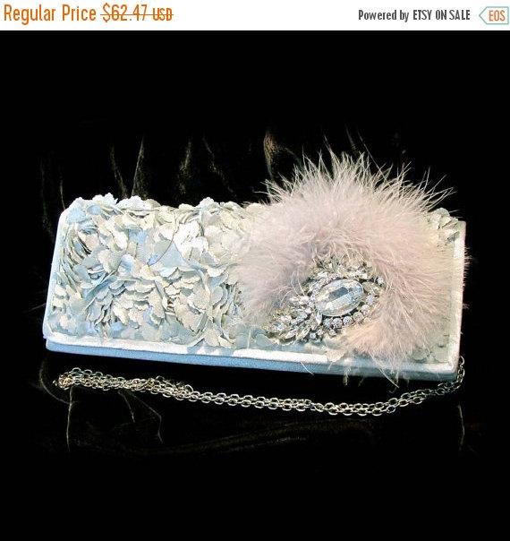Свадьба - Crystal clutch,fur clutch, bridal clutch, Silver clutch, wedding clutch, bridesmaid clutch, bridesmaids evening bag