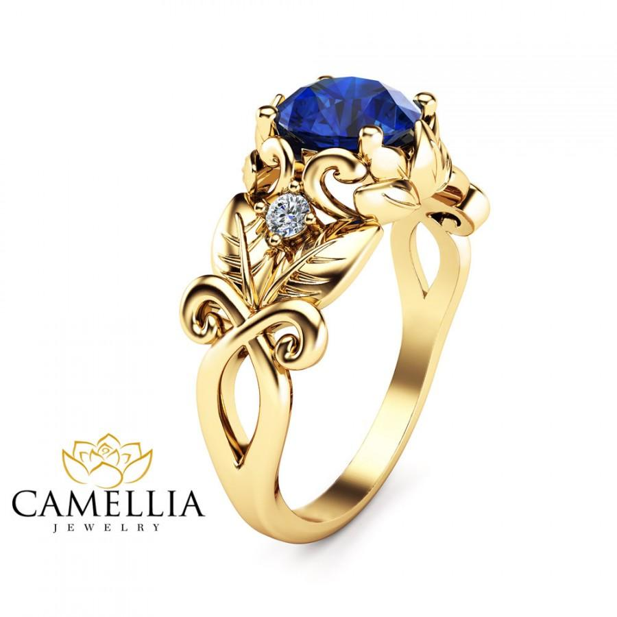 Blue Sapphire Leaf Engagement Ring 14K Yellow Gold Art