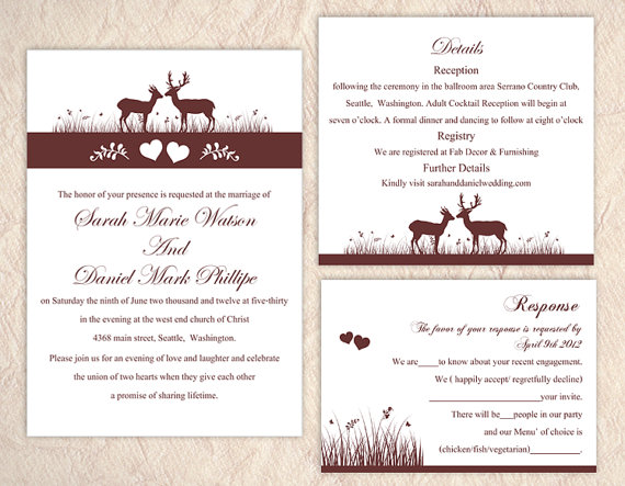 Wedding - DIY Wedding Invitation Template Set Editable Word File Instant Download Printable Reindeer Invitation Brown Invitation Heart Invitation