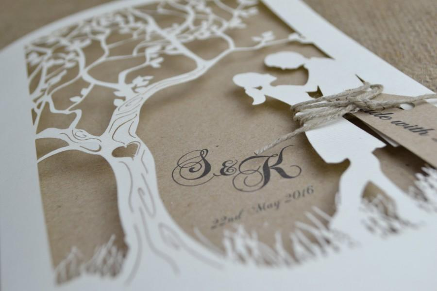 Laser Cut Wedding Invitation,Rustic Wedding Invitation, Laser Cut Tree Wedding  Invitation