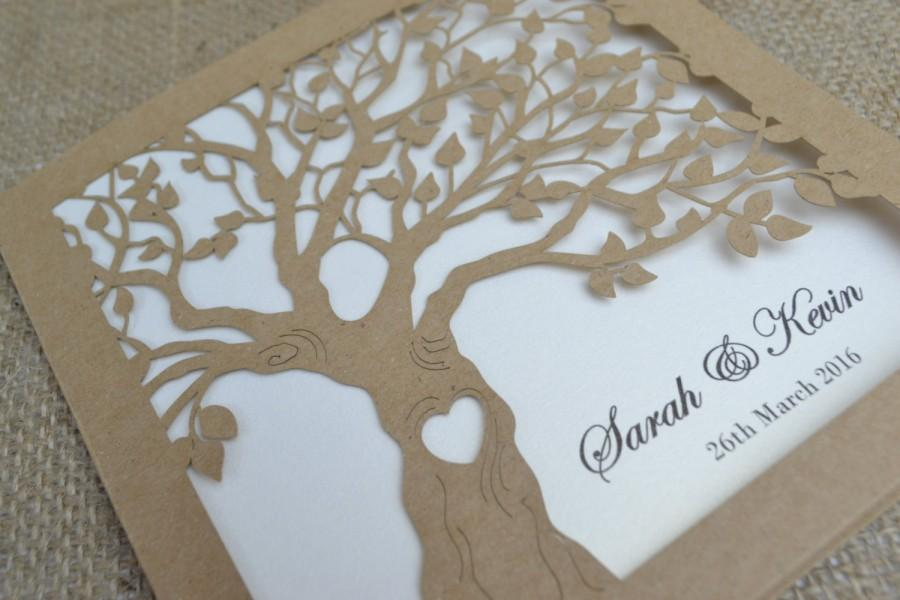 Laser Cut Invitation, Rustic Wedding Invitation, Laser Cut Tree ...