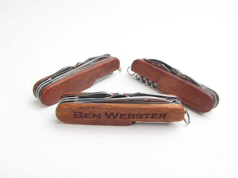 Свадьба - 3 Laser Engraved Wood Pocket Knives Personalized Gift for Groomsmen, Best Man, Usher, Ring Bearer, Wedding Keepsake
