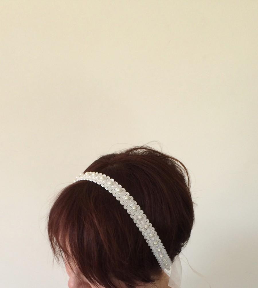 Свадьба - Bridal Headband, Ivory Lace Headband, Pearl Embroidered Lace Hairband, Bridal hair, Bridesmaid Headpiece, Beadwork, ReddApple