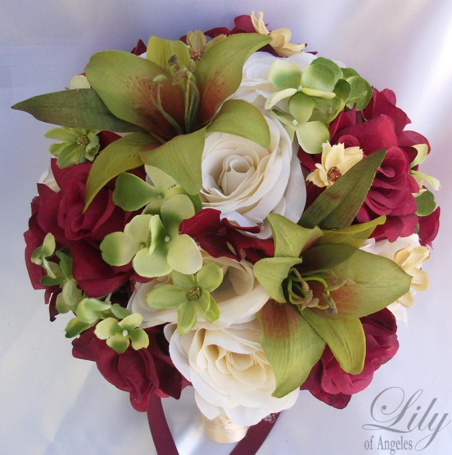 """Mariage - 17pcs Wedding Bridal Bouquet Set Decoration Package Silk Flowers MOSSY GREEN BURGUNDY """"Lily Of Angeles"""""""