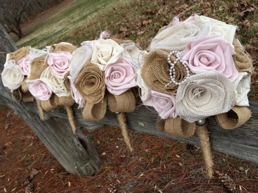 زفاف - Blush Burlap Bouquet, Burlap Bouquet, Wedding Burlap Bouquet, Country Wedding, Rustic Burlap Bouquet, Burlap, Wedding, Bride, Bridesmaid
