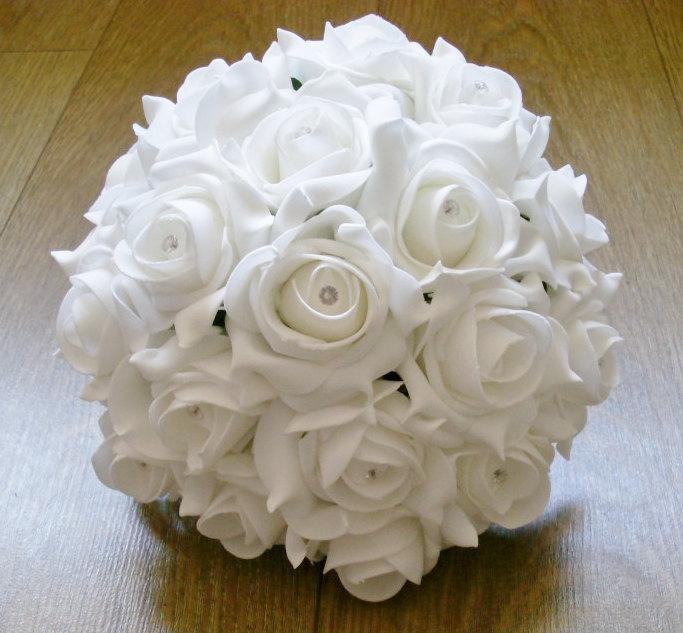 Hochzeit - Artificial Wedding Flower Medium Bridesmaid Bouquet
