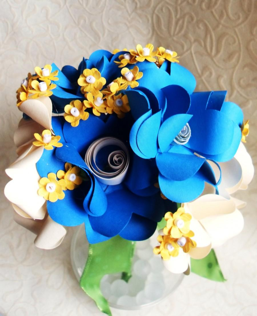 Blue off white and yellow paper flower bouquet 2430334 weddbook blue off white and yellow paper flower bouquet mightylinksfo