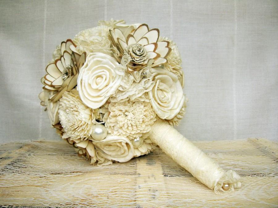 "Mariage - Bridal Bouquet or Bridesmaid Bouquet  ""Cream"", Wedding Cream White Fabric Bouquet, Sola flowers"