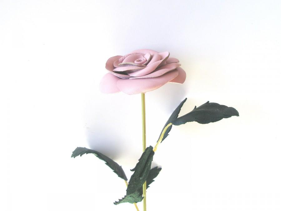 زفاف - Dusty Pink  Flower- Leather Rose, Wedding ,3rd Anniversary Gift, Long Stem Flower, Valentines Day