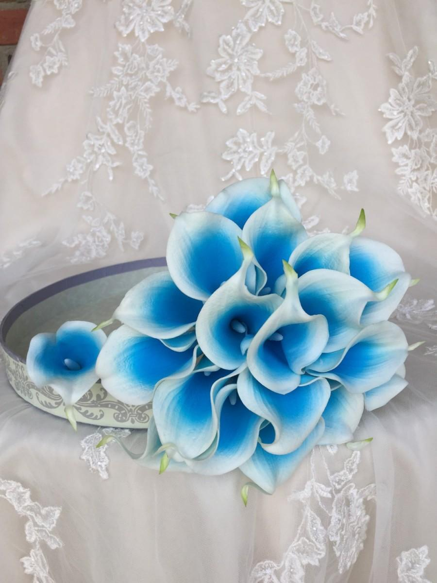Hochzeit - True Touch Calla Lily Bouquet - Turquoise and White Calla Lily Bouquet - True Touch Bouquet - Real Touch Calla Lily bouquet - Bridal Bouquet