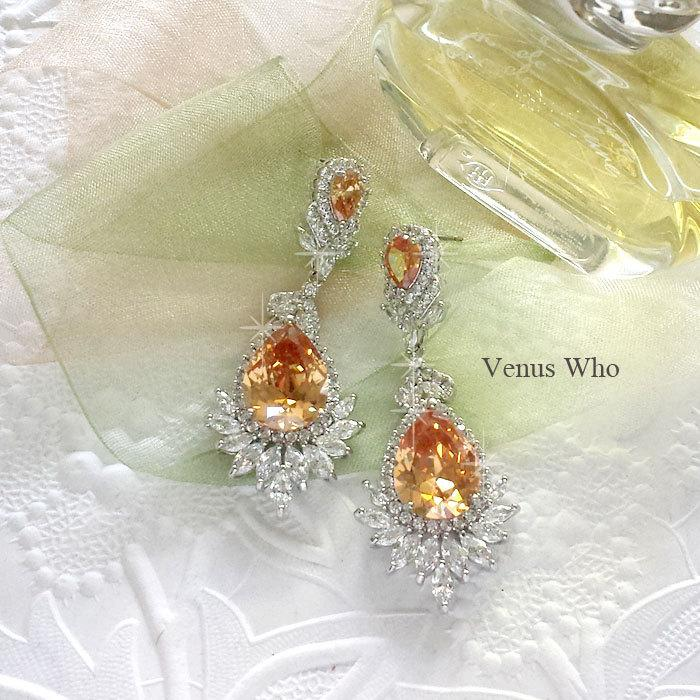 Mariage - Wedding Earrings. Luxury Bold Yellow Diamond CZ Drop Earrings. Bridal Earrings. Statement Earrings.  Dangle Earrings. Brass Earrings