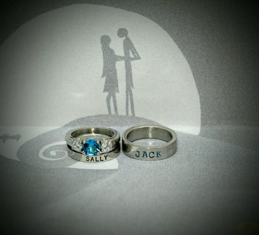 nightmare before christmas tim burton inspired couples set sally and jack rings blue topaz cz and white cz complete 3 piece wedding set - Nightmare Before Christmas Wedding Bands