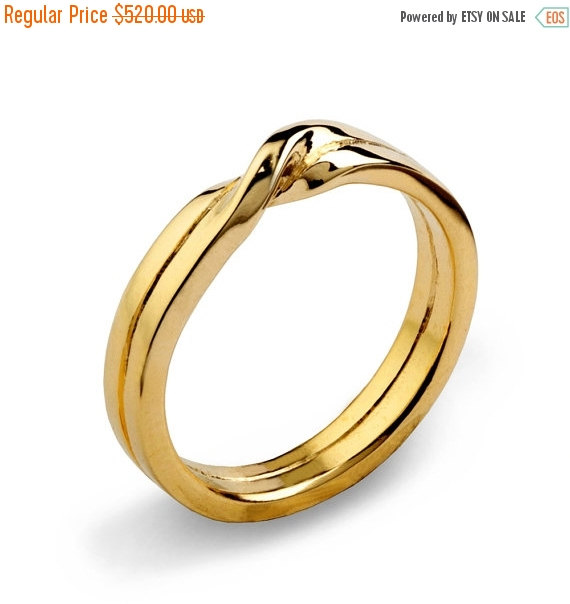 Wedding - Christmas SALE - LOVE KNOT 14k Yellow Gold Wedding Band, Unique Mens Wedding Band, Womens Wedding Band, His and Hers Wedding Ring Gold