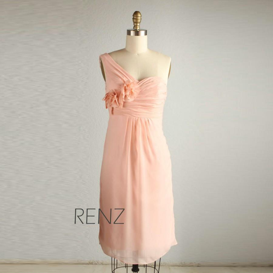 Pink Chiffon Bridesmaid Tea Dress