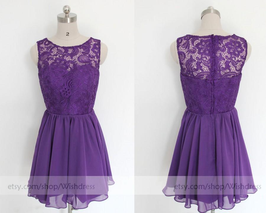 Mint Purple Short Bridesmaid Dress Lace Mismatch Prom Homecoming Bridal Party