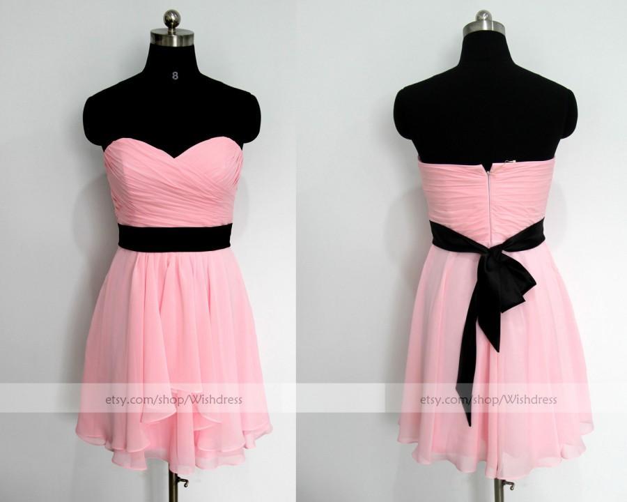 4154135a4fc7b Handmade Sweetheart Pink Chiffon Knee Length Bridesmaid Dress With Black  Sash / Pink Homecoming Dress/ Short pink Prom Dress By Wishdress