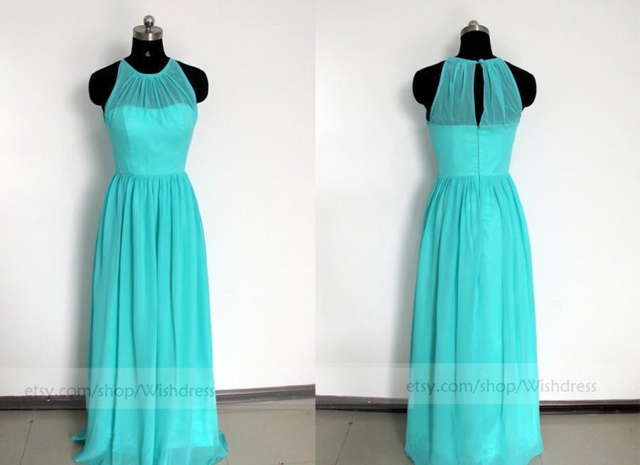 Свадьба - Illusion Top Blue Long Prom Dress /Blue Bridesmaid Dress/ Long Bridesmaid Dress/ Wedding Party Dress/ Evening Dress/Wedding Party Dress
