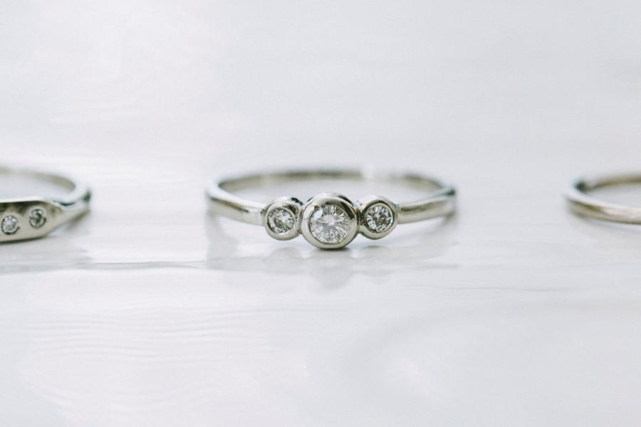 Mariage - Petite Three Moissanite Ring in Silver