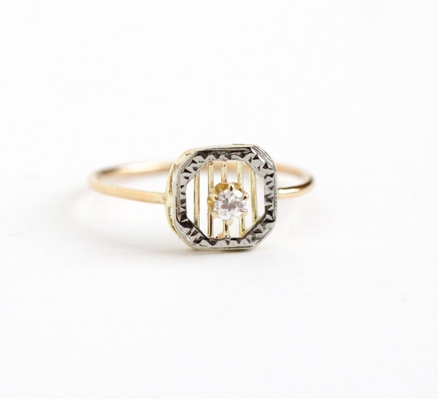 8f6e7f52f27 Sale - Antique Art Deco 10k Yellow & White Gold Stick Pin Conversion  Diamond Ring - Vintage Size 7 1/2 Target Stripe Filigree Fine Jewelry