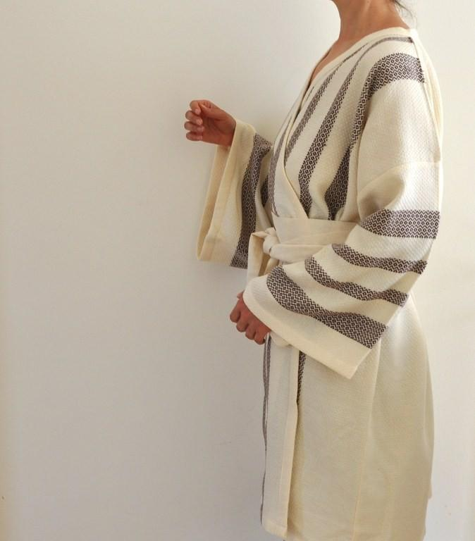 Mariage - Robe Kimono Peshtemal Bathrobe Bath Robe Turkish Bath Towel Eco Friendly Extra Soft Cotton Organic Obi Belt Brown  Striped