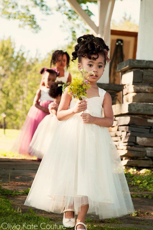 زفاف - Ivory Tutu Dress Flower Girl