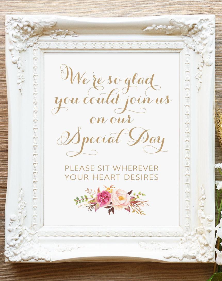 زفاف - Wedding Sign - We're So Glad - 12 x 16 - DIY Printable - Vintage antique gold - Romantic Blooms - PDF and JPG files - Instant Download