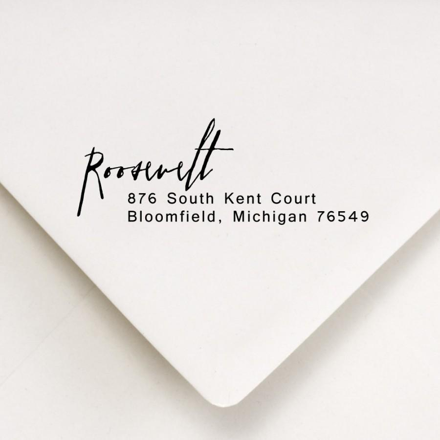 Wedding - Return Address Stamp -  - Holiday Gift, Wedding - Roosevelt Design