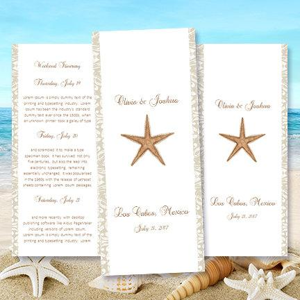 Destination Wedding Itinerary Template Starfish Beach Tropical