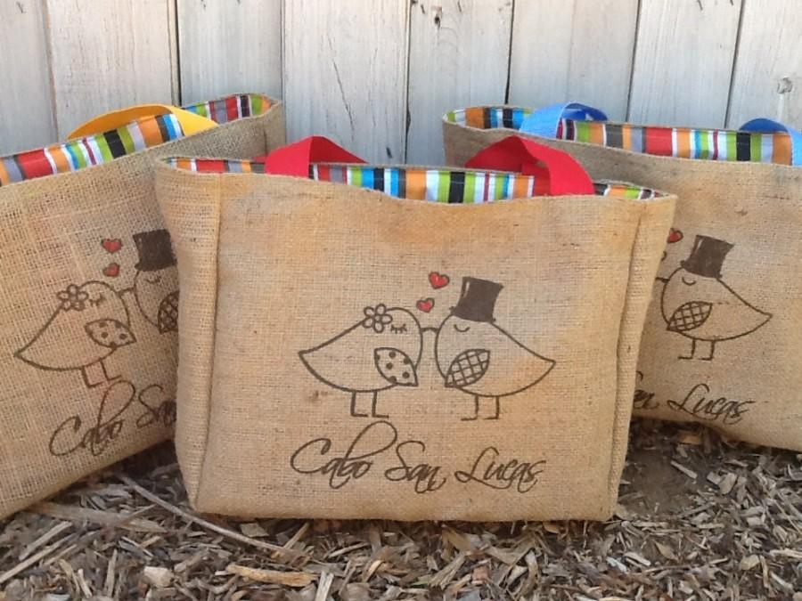 Wedding - 8 Eco Friendly Custom Wedding Tote Bags - Handmade from Recycled Coffee Sacks
