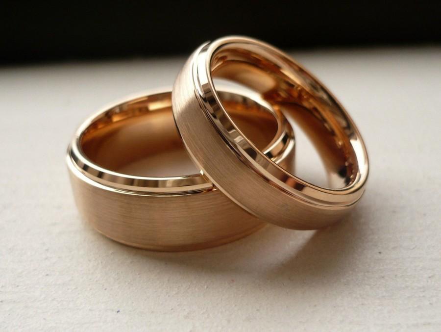 tungsten wedding bandwedding band set matchingrose gold platedbrushed center shiny edge wedding band ring set hisher8mm6mm - Tungsten Wedding Ring Sets