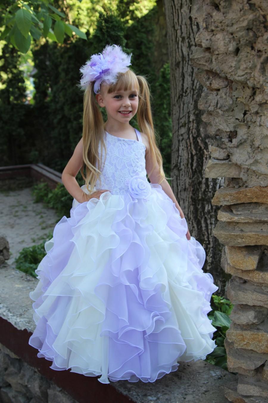 Wedding - Chiffon Ivory Lilac Flower Girl Dress - Birthday Wedding Party Holiday Ivory and Lilac Flower Girl Chiffon Lace Dress